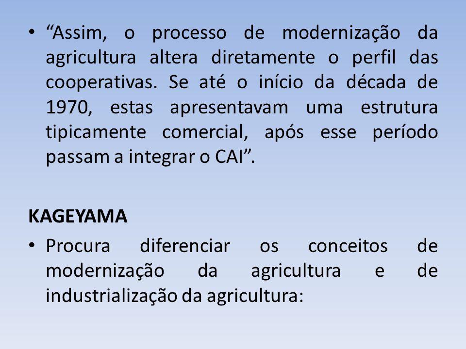 Assim, o processo de modernização da agricultura altera diretamente o perfil das cooperativas. Se até o início da década de 1970, estas apresentavam uma estrutura tipicamente comercial, após esse período passam a integrar o CAI .
