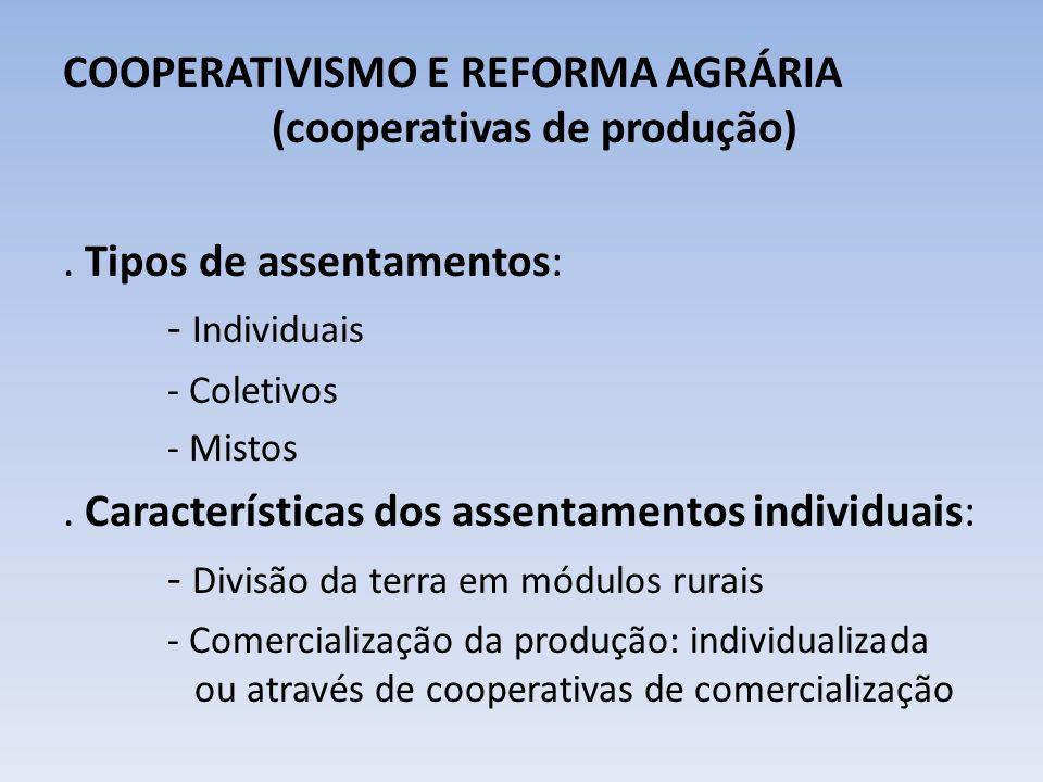 COOPERATIVISMO E REFORMA AGRÁRIA (cooperativas de produção)