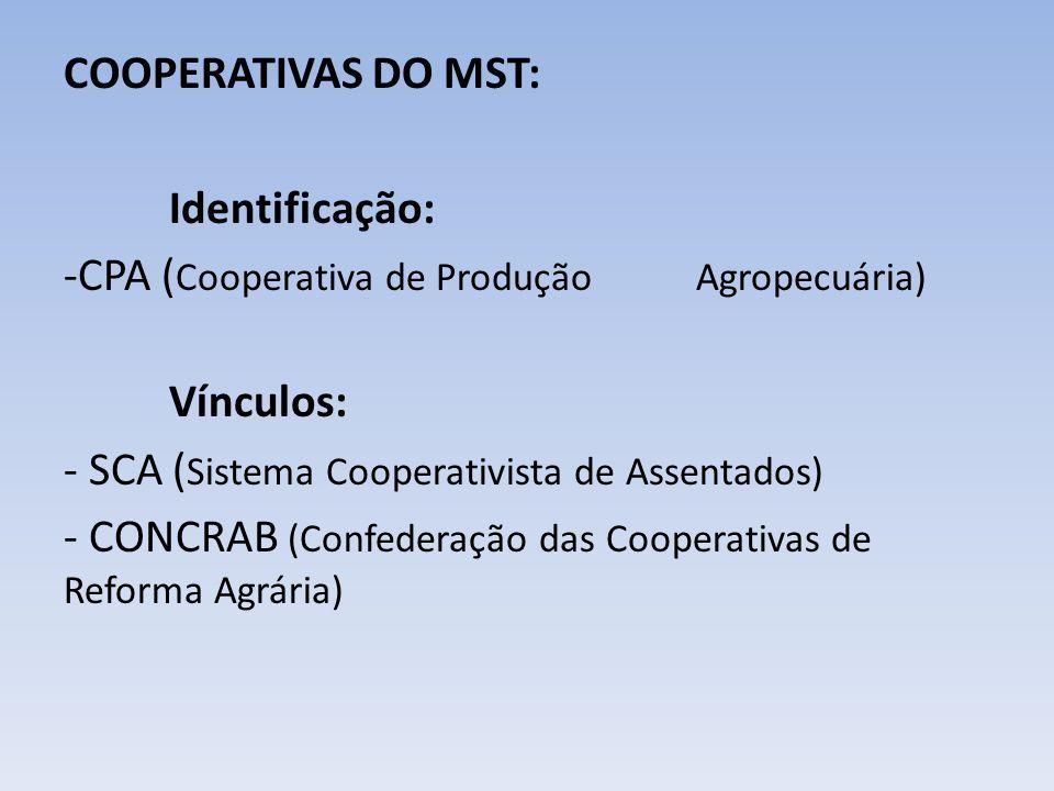 COOPERATIVAS DO MST: Identificação: CPA (Cooperativa de Produção Agropecuária) Vínculos: - SCA (Sistema Cooperativista de Assentados)