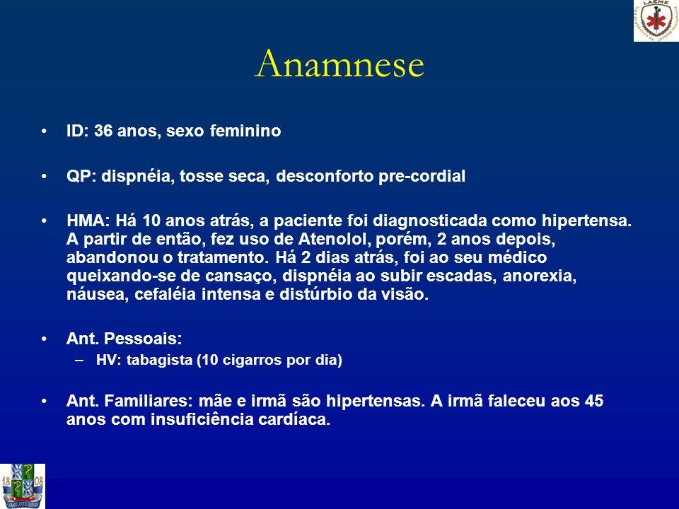 Anamnese ID: 36 anos, sexo feminino