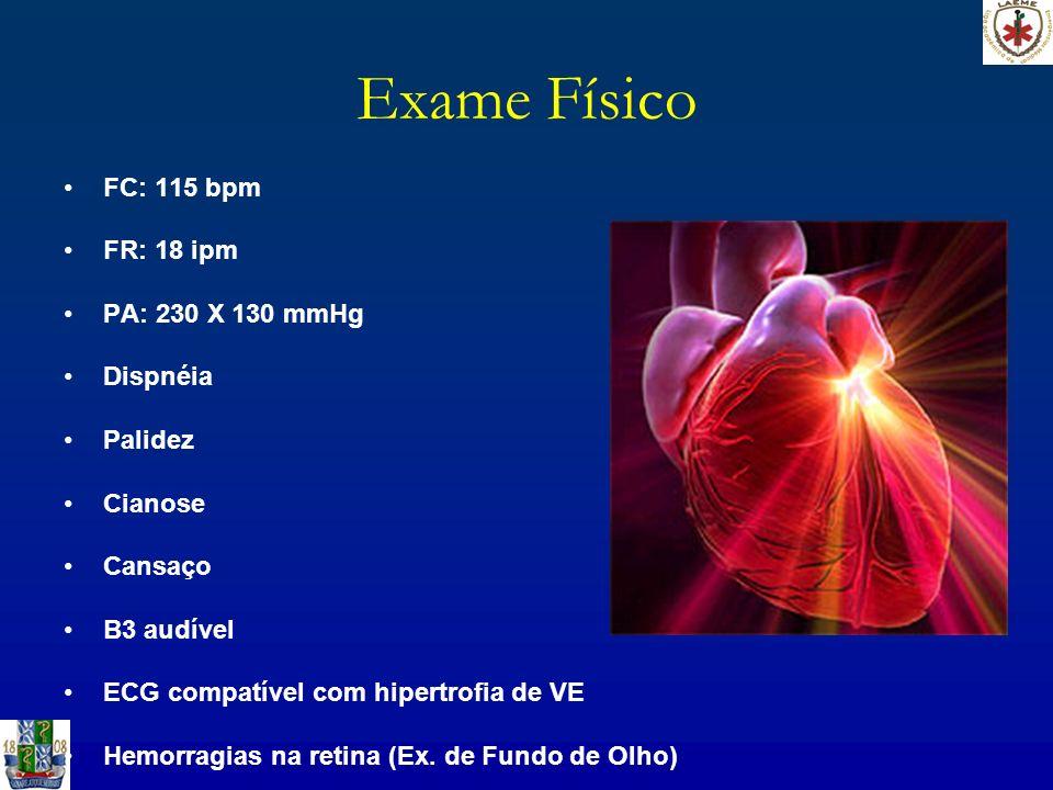 Exame Físico FC: 115 bpm FR: 18 ipm PA: 230 X 130 mmHg Dispnéia