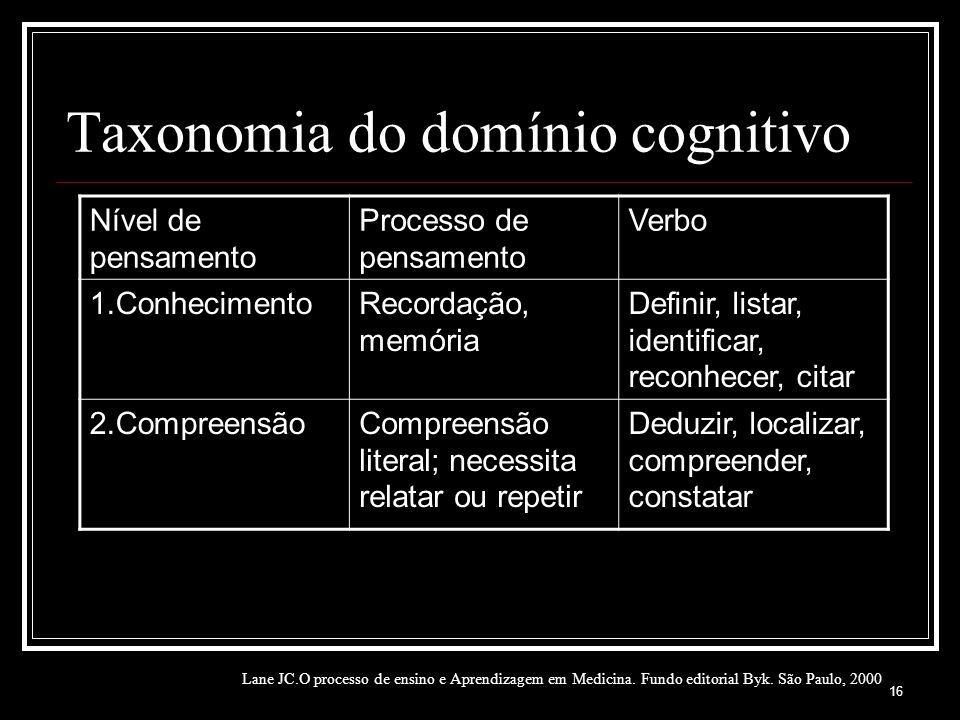 Taxonomia do domínio cognitivo