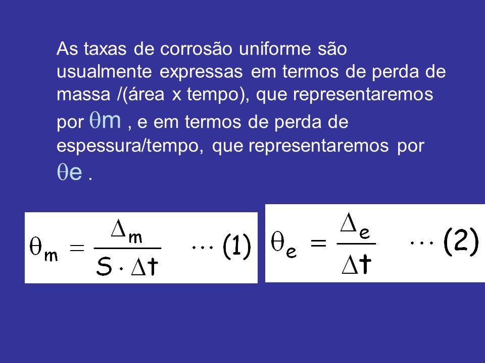As taxas de corrosão uniforme são usualmente expressas em termos de perda de massa /(área x tempo), que representaremos por m , e em termos de perda de espessura/tempo, que representaremos por e .