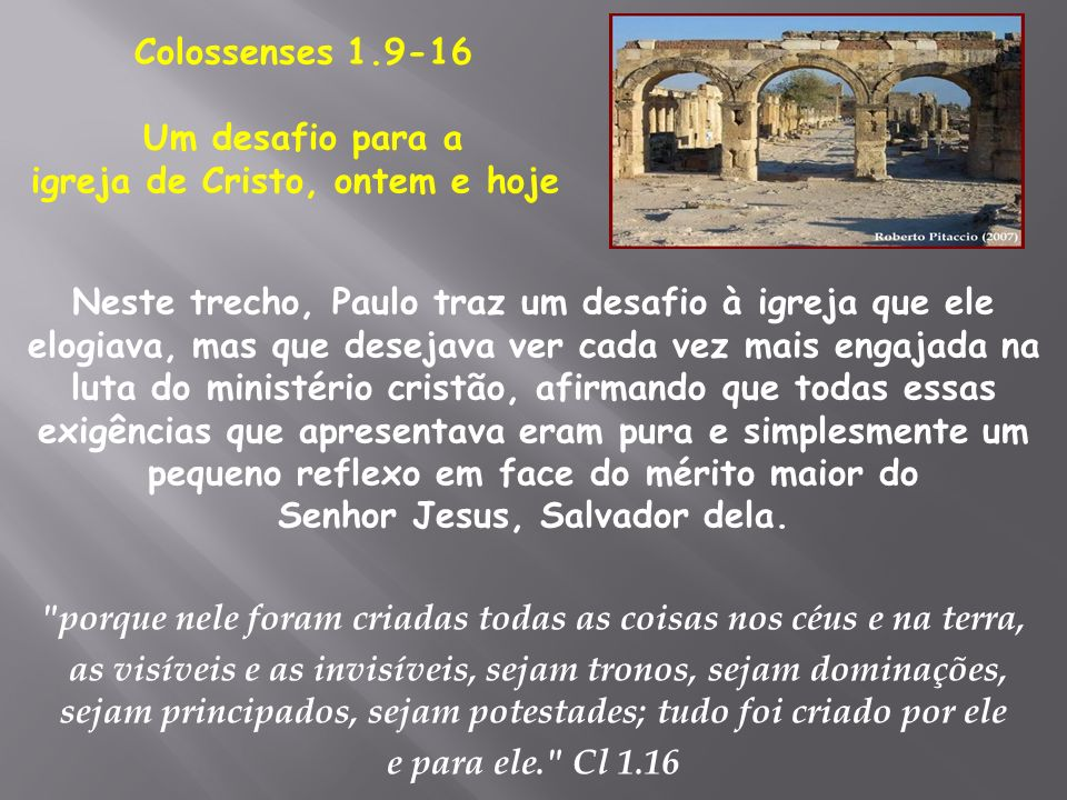 igreja de Cristo, ontem e hoje