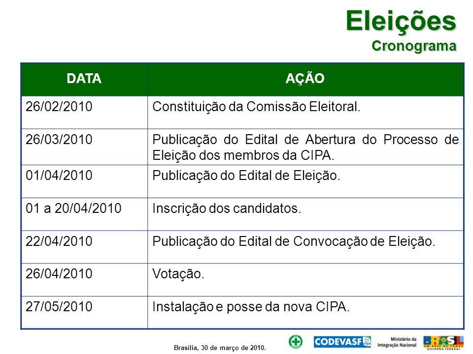 Eleições Cronograma DATA AÇÃO 26/02/2010