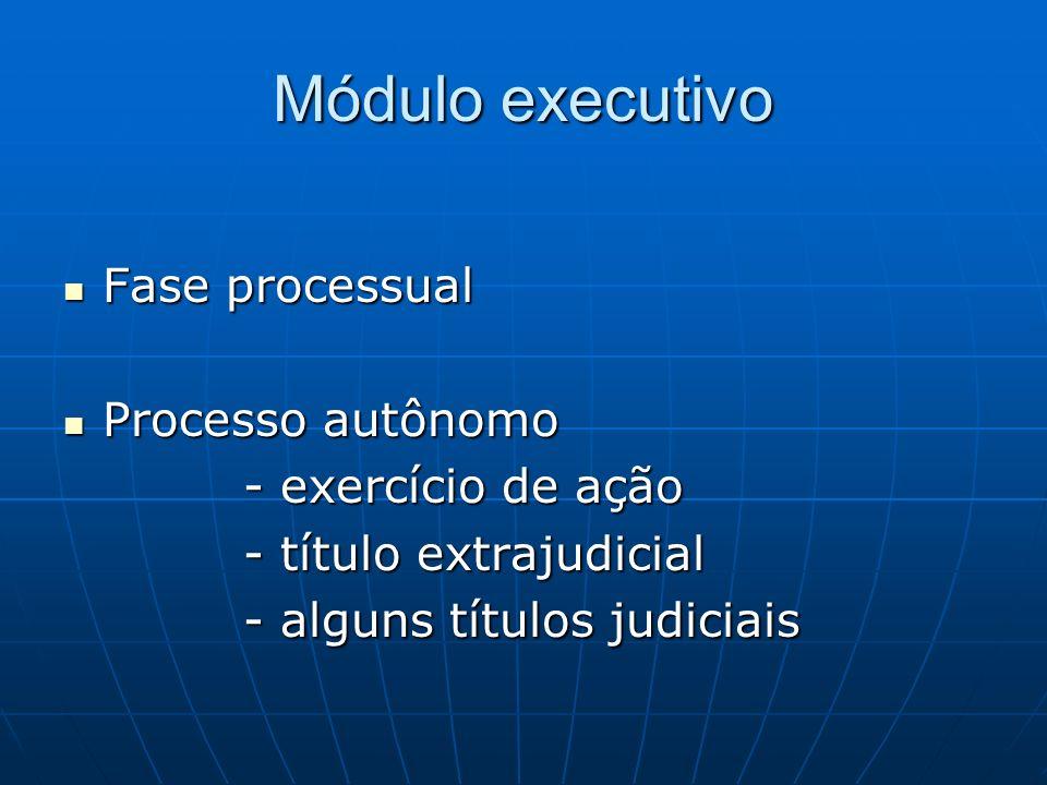 Módulo executivo Fase processual Processo autônomo - exercício de ação