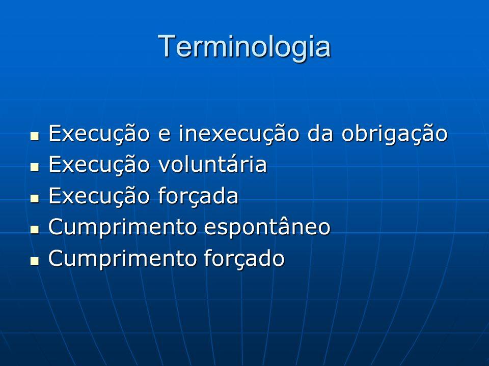 Terminologia Execução e inexecução da obrigação Execução voluntária