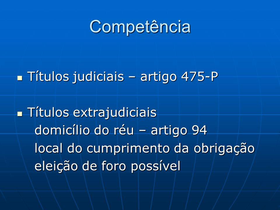 Competência Títulos judiciais – artigo 475-P Títulos extrajudiciais