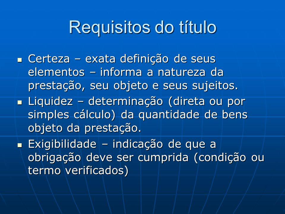 Requisitos do título Certeza – exata definição de seus elementos – informa a natureza da prestação, seu objeto e seus sujeitos.