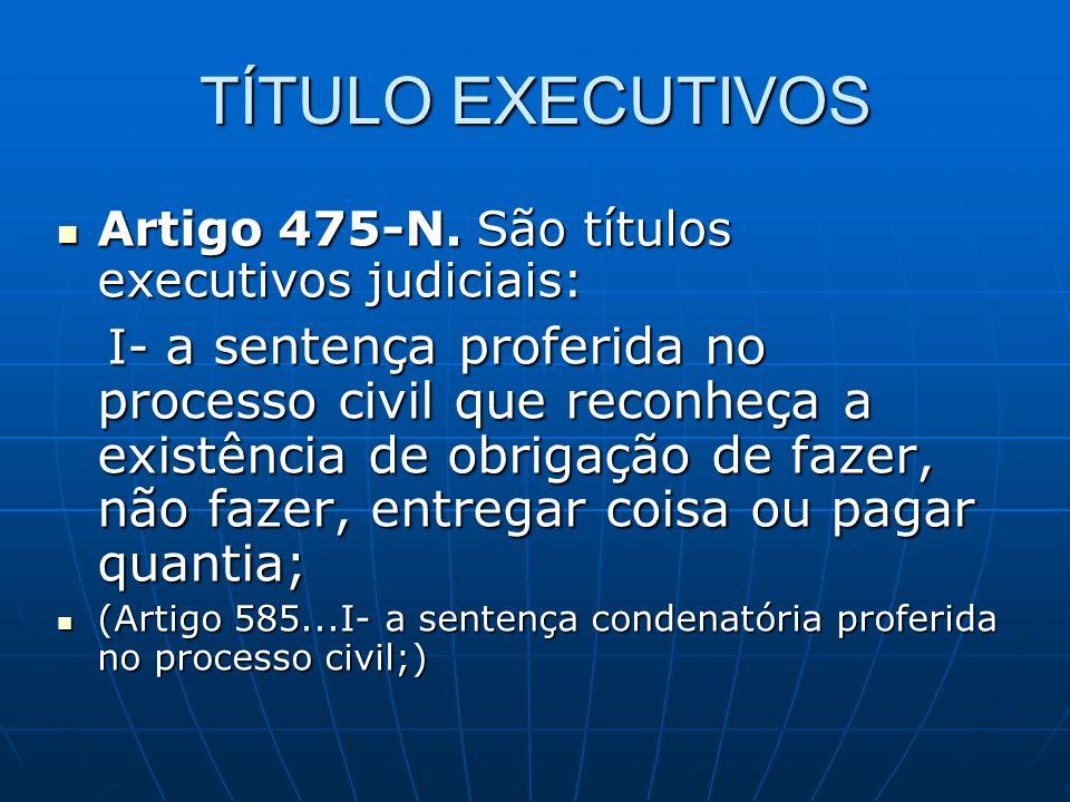 TÍTULO EXECUTIVOS Artigo 475-N. São títulos executivos judiciais: