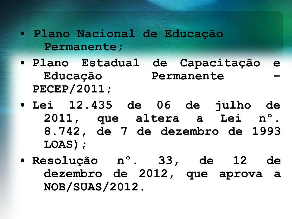• Plano Nacional de Educação Permanente; • Plano Estadual de Capacitação e Educação Permanente – PECEP/2011; • Lei 12.435 de 06 de julho de 2011, que altera a Lei nº.