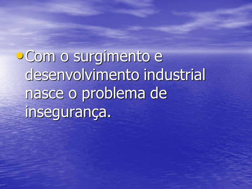 Com o surgimento e desenvolvimento industrial nasce o problema de insegurança.