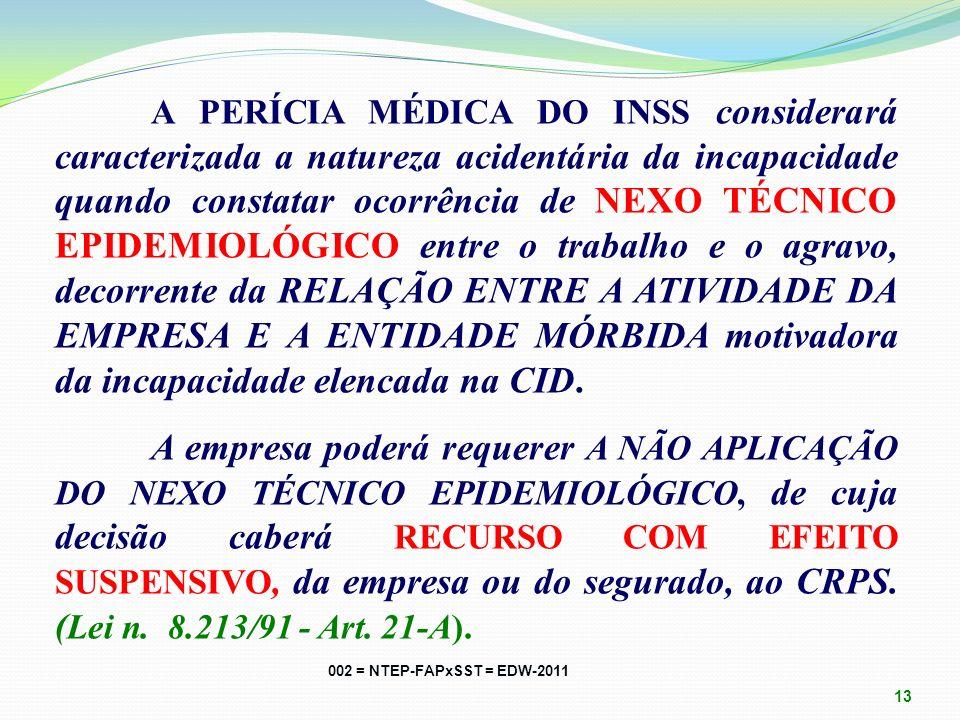 A PERÍCIA MÉDICA DO INSS considerará caracterizada a natureza acidentária da incapacidade quando constatar ocorrência de NEXO TÉCNICO EPIDEMIOLÓGICO entre o trabalho e o agravo, decorrente da RELAÇÃO ENTRE A ATIVIDADE DA EMPRESA E A ENTIDADE MÓRBIDA motivadora da incapacidade elencada na CID. A empresa poderá requerer A NÃO APLICAÇÃO DO NEXO TÉCNICO EPIDEMIOLÓGICO, de cuja decisão caberá RECURSO COM EFEITO SUSPENSIVO, da empresa ou do segurado, ao CRPS. (Lei n. 8.213/91 - Art. 21-A).