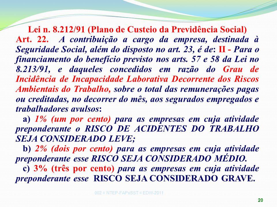 Lei n. 8. 212/91 (Plano de Custeio da Previdência Social) Art. 22