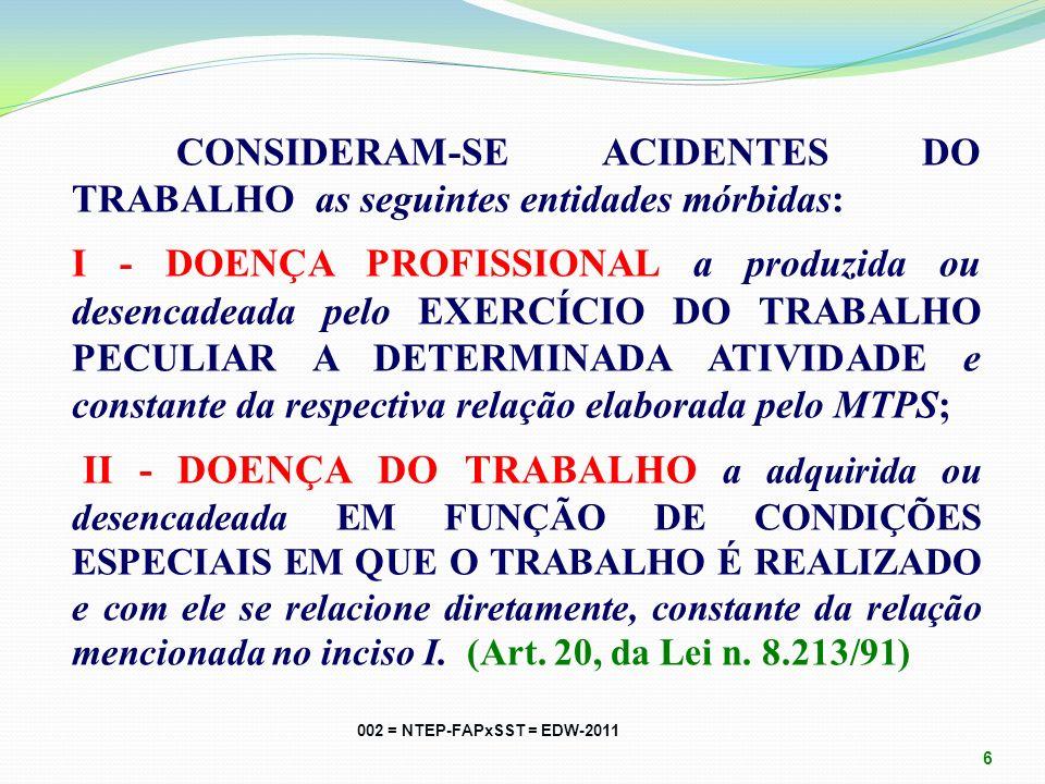 CONSIDERAM-SE ACIDENTES DO TRABALHO as seguintes entidades mórbidas: