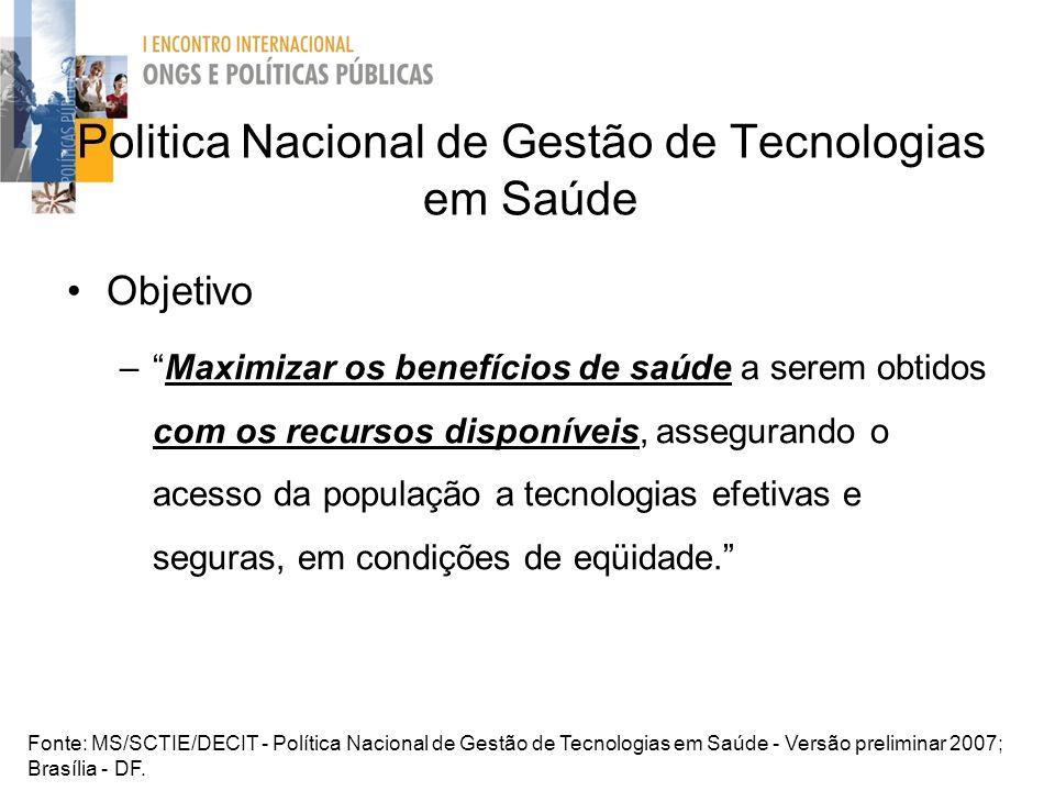 Politica Nacional de Gestão de Tecnologias em Saúde