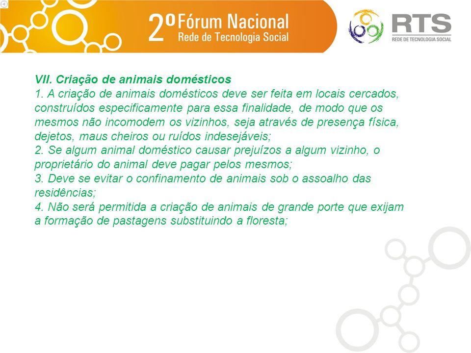 VII. Criação de animais domésticos