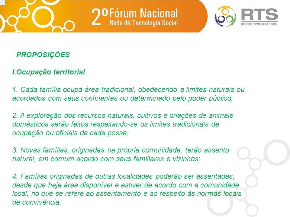 PROPOSIÇÕES Ocupação territorial.