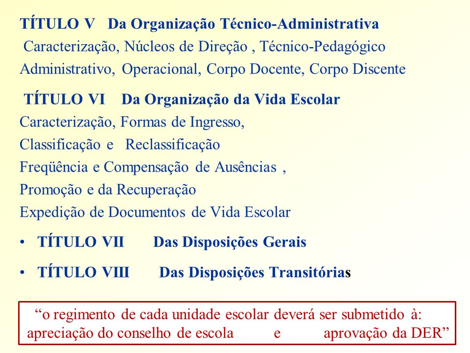 TÍTULO V Da Organização Técnico-Administrativa