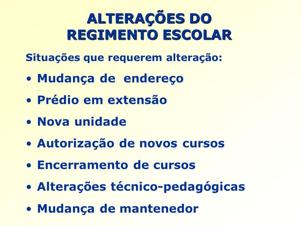 ALTERAÇÕES DO REGIMENTO ESCOLAR