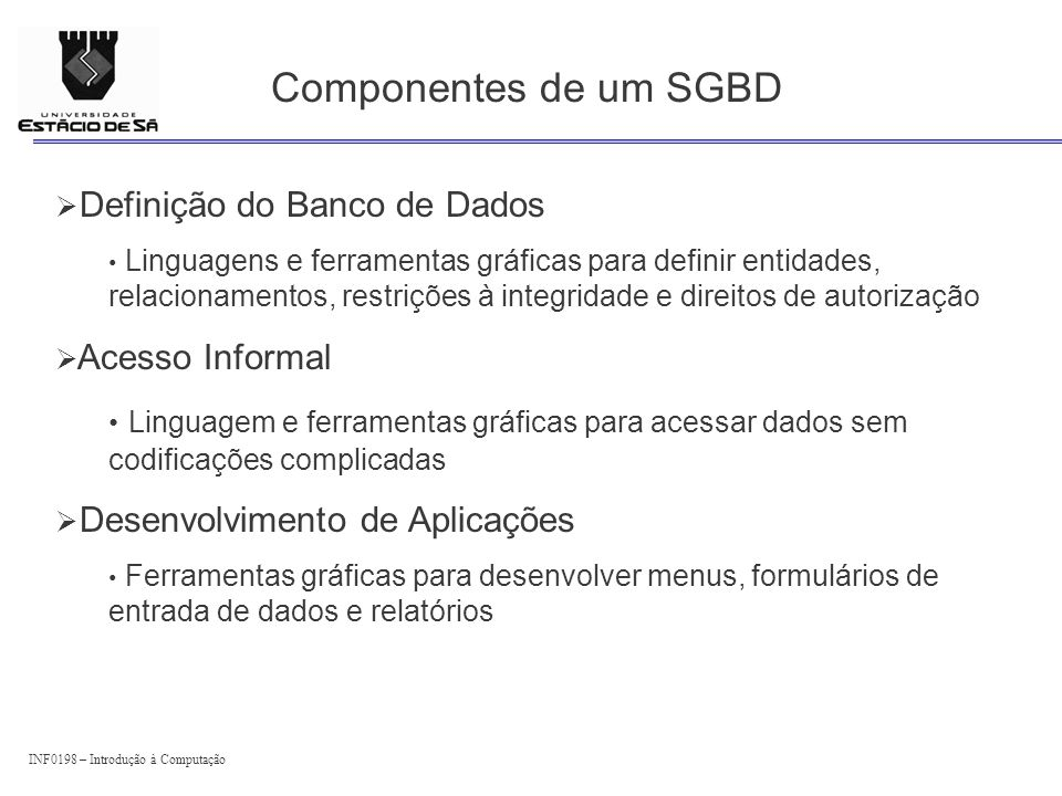 Componentes de um SGBD Definição do Banco de Dados Acesso Informal