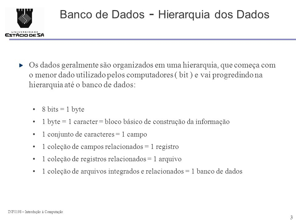 Banco de Dados - Hierarquia dos Dados