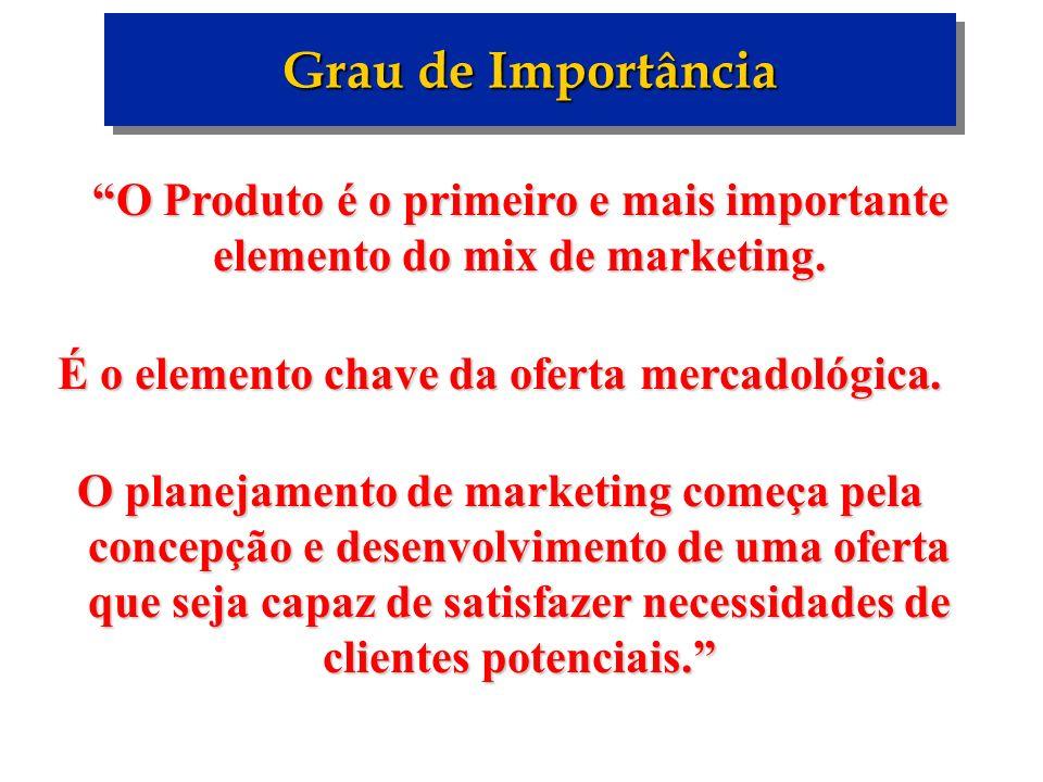 É o elemento chave da oferta mercadológica.