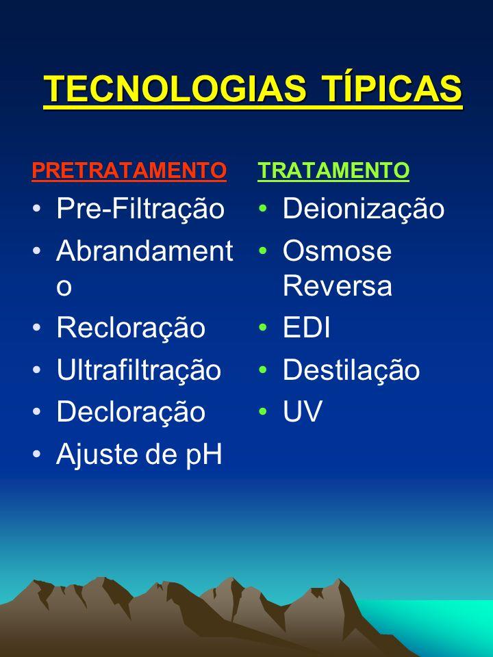 TECNOLOGIAS TÍPICAS Pre-Filtração Abrandamento Recloração