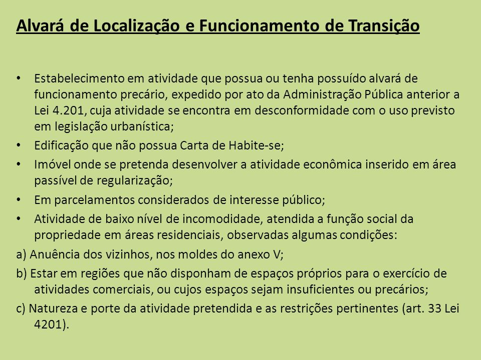 Alvará de Localização e Funcionamento de Transição