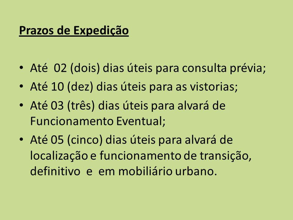 Prazos de Expedição Até 02 (dois) dias úteis para consulta prévia; Até 10 (dez) dias úteis para as vistorias;