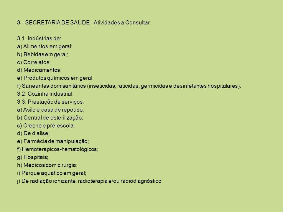 3 - SECRETARIA DE SAÚDE - Atividades a Consultar: 3. 1
