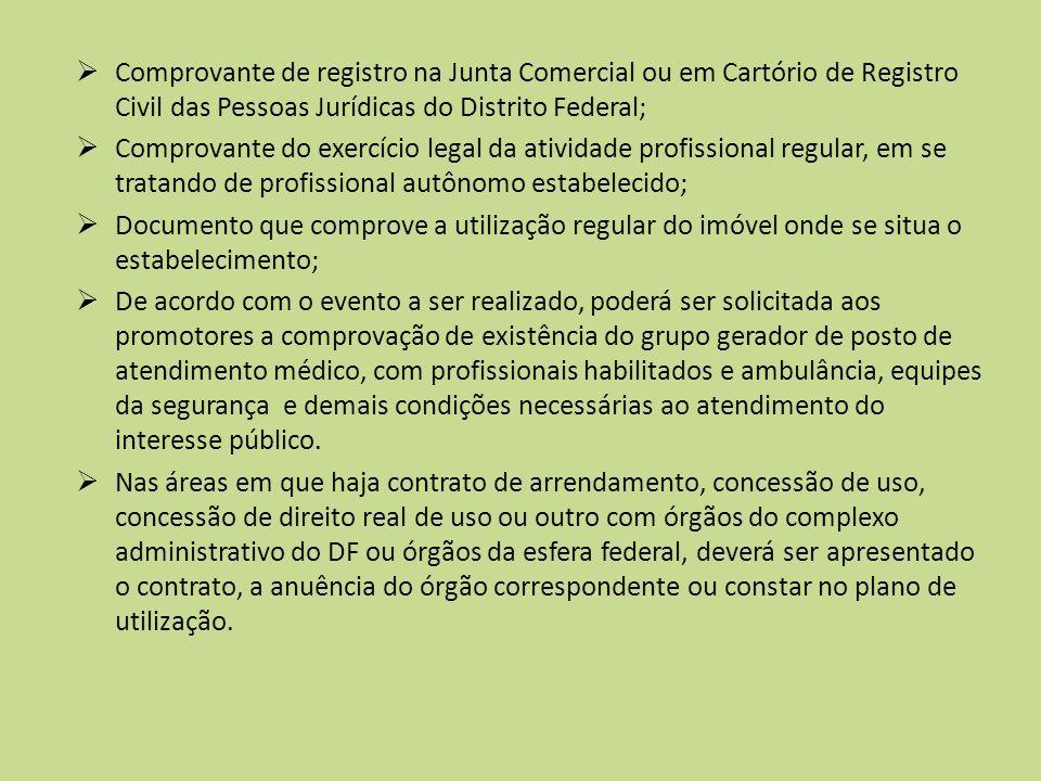 Comprovante de registro na Junta Comercial ou em Cartório de Registro Civil das Pessoas Jurídicas do Distrito Federal;
