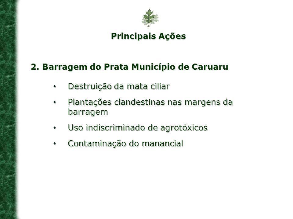 Principais Ações2. Barragem do Prata Município de Caruaru. Destruição da mata ciliar. Plantações clandestinas nas margens da barragem.