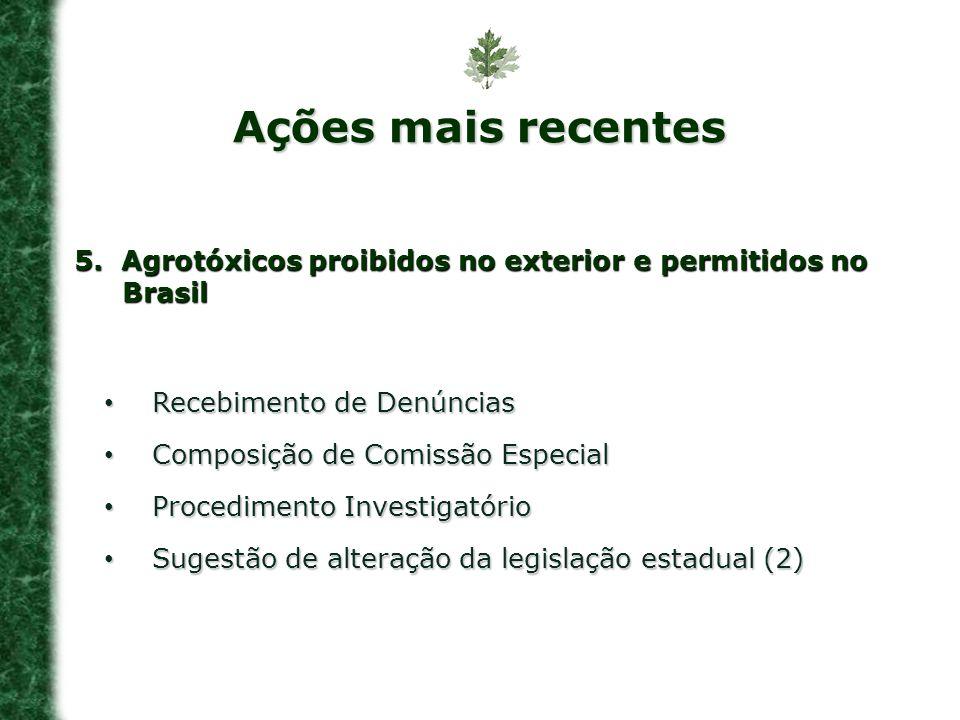 Ações mais recentes 5. Agrotóxicos proibidos no exterior e permitidos no Brasil. Recebimento de Denúncias.