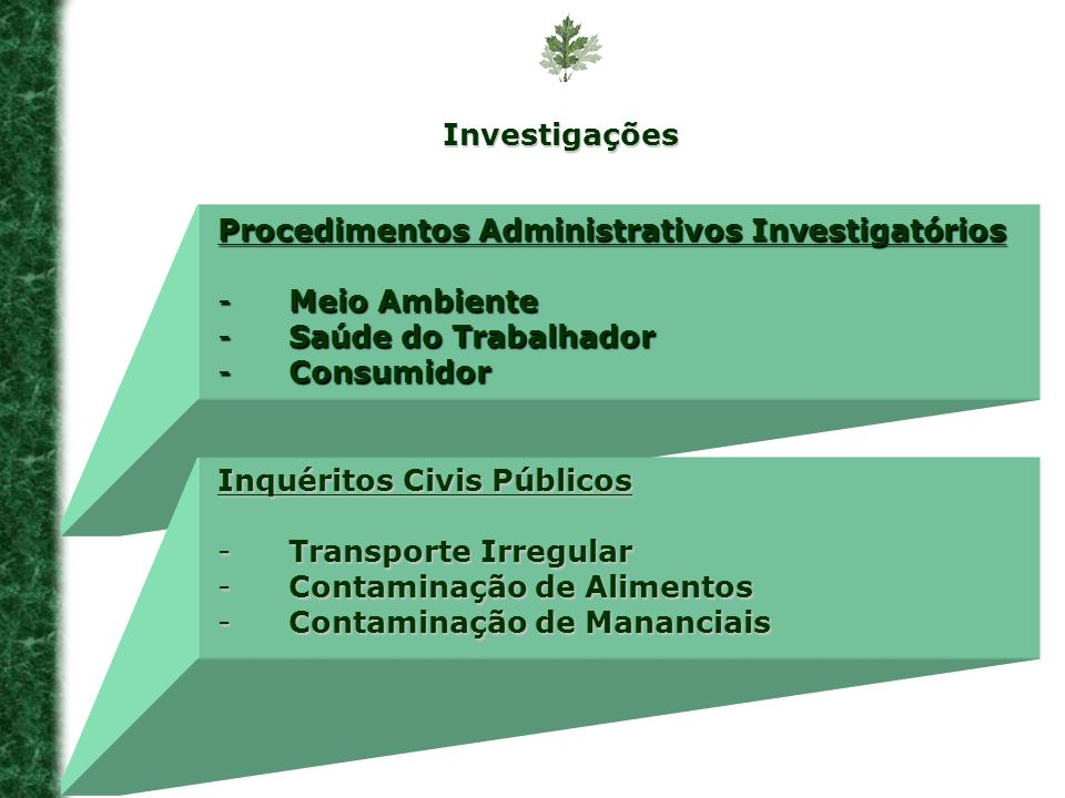 Investigações Procedimentos Administrativos Investigatórios. Meio Ambiente. Saúde do Trabalhador.
