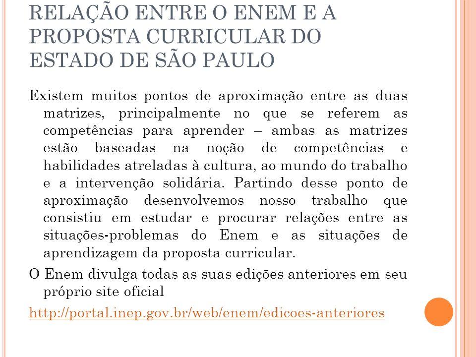 RELAÇÃO ENTRE O ENEM E A PROPOSTA CURRICULAR DO ESTADO DE SÃO PAULO