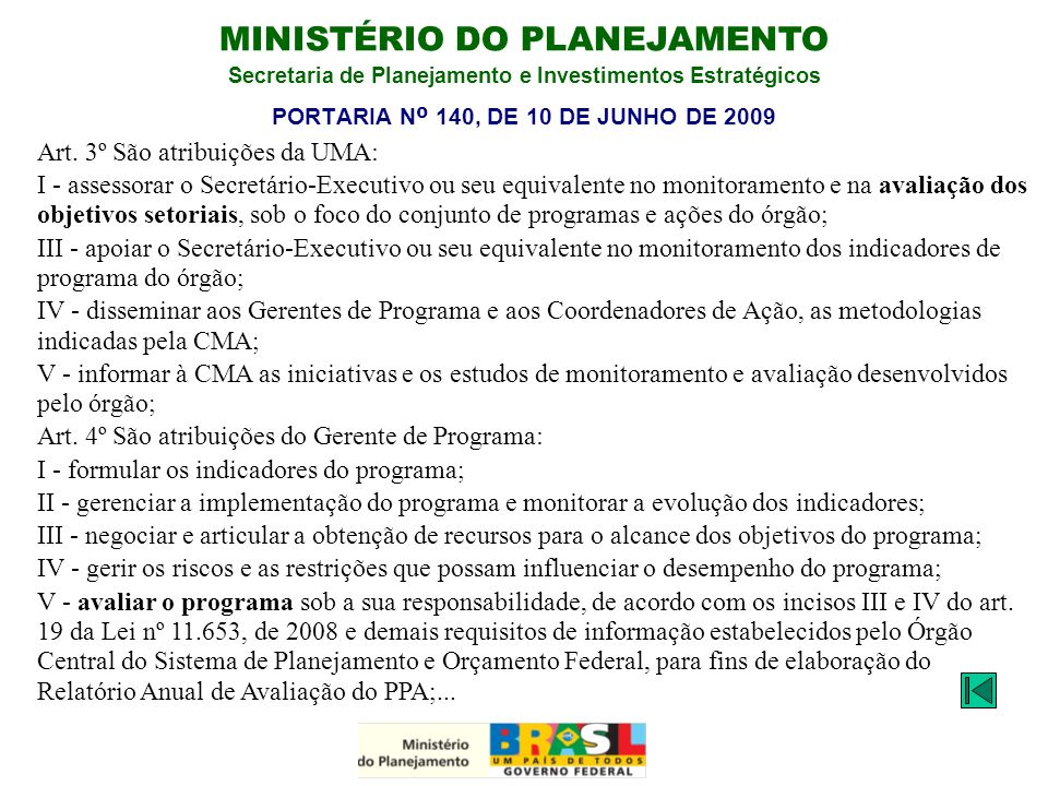PORTARIA Nº 140, DE 10 DE JUNHO DE 2009