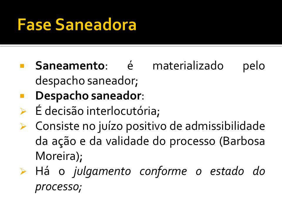 Fase Saneadora Saneamento: é materializado pelo despacho saneador;