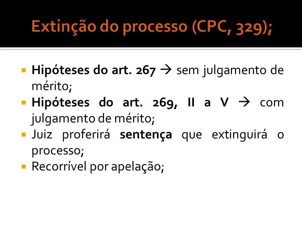 Extinção do processo (CPC, 329);