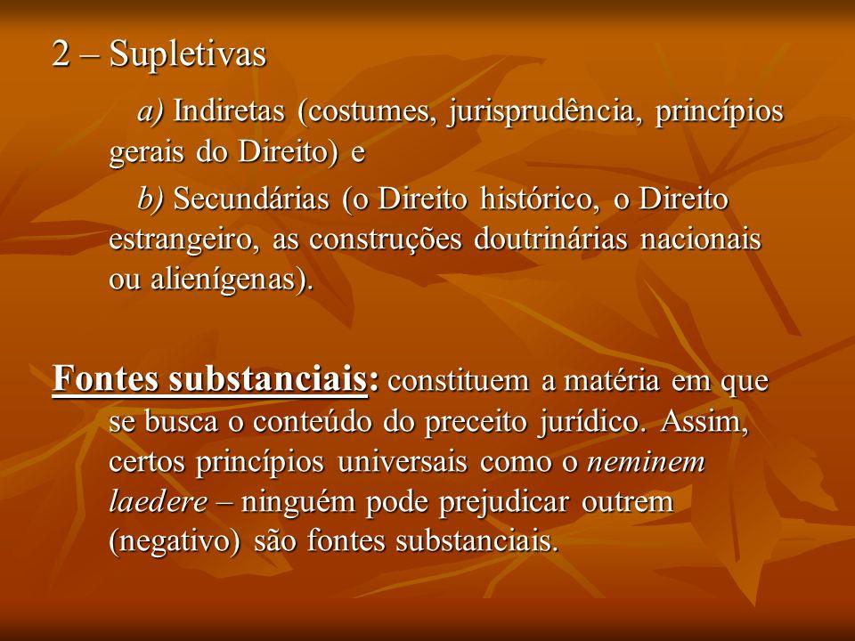 2 – Supletivas a) Indiretas (costumes, jurisprudência, princípios gerais do Direito) e.