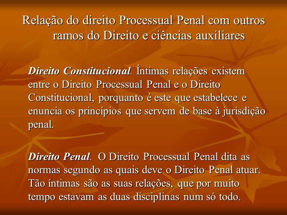 Relação do direito Processual Penal com outros ramos do Direito e ciências auxiliares