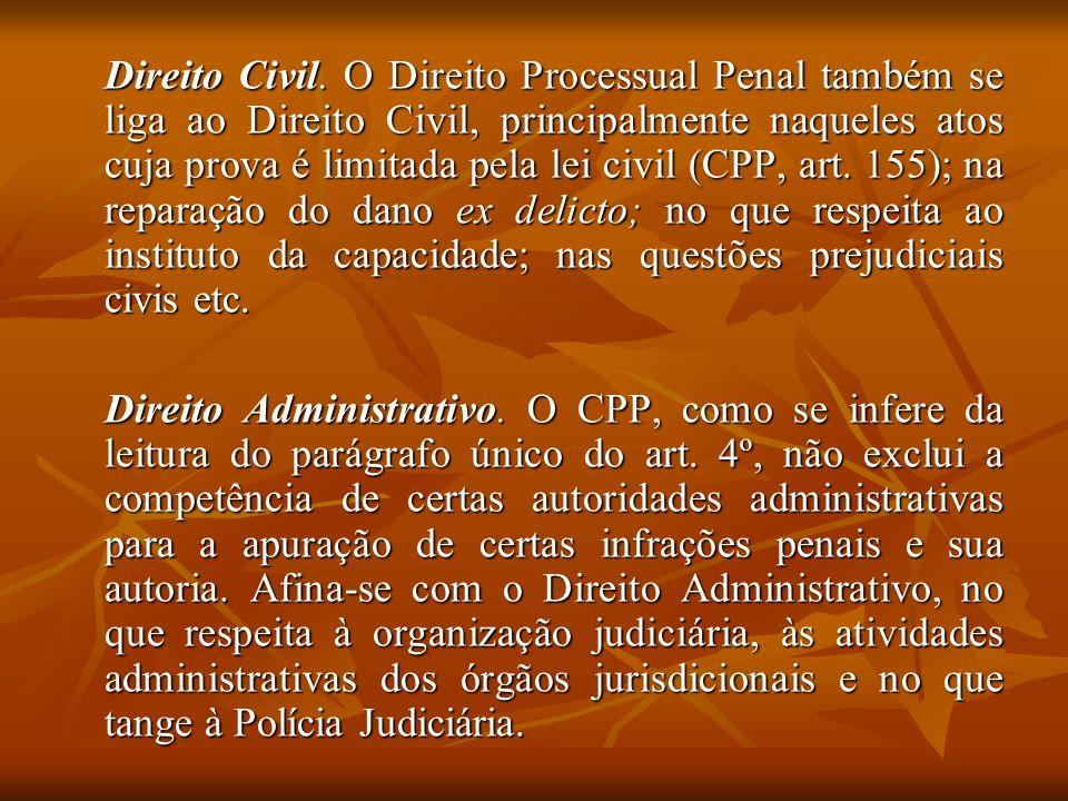 Direito Civil. O Direito Processual Penal também se liga ao Direito Civil, principalmente naqueles atos cuja prova é limitada pela lei civil (CPP, art. 155); na reparação do dano ex delicto; no que respeita ao instituto da capacidade; nas questões prejudiciais civis etc.