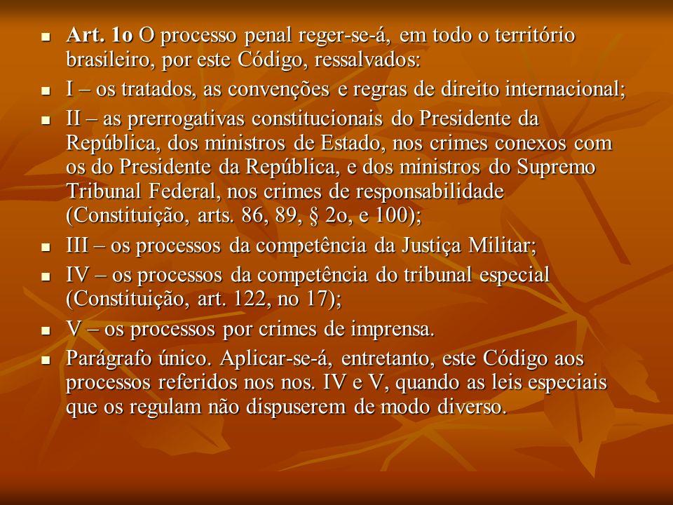 Art. 1o O processo penal reger-se-á, em todo o território brasileiro, por este Código, ressalvados: