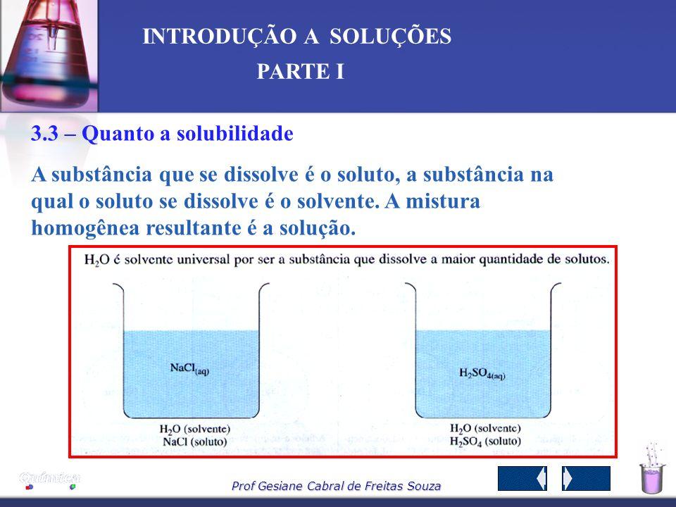 3.3 – Quanto a solubilidade