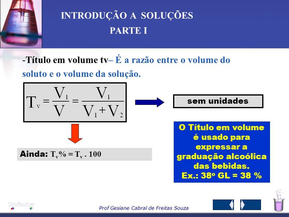 Título em volume tv– É a razão entre o volume do soluto e o volume da solução.