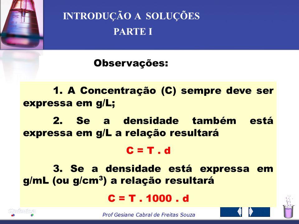 1. A Concentração (C) sempre deve ser expressa em g/L;