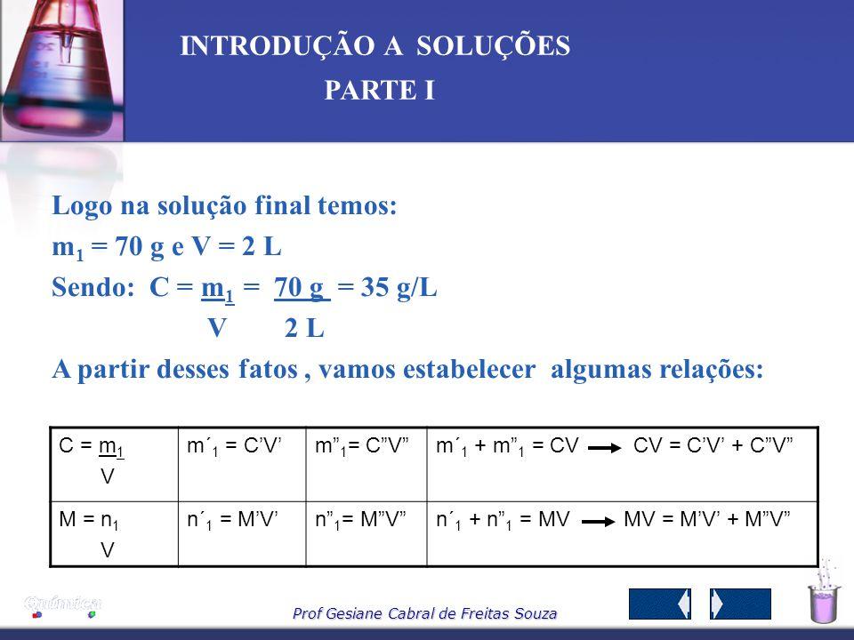 Logo na solução final temos: m1 = 70 g e V = 2 L