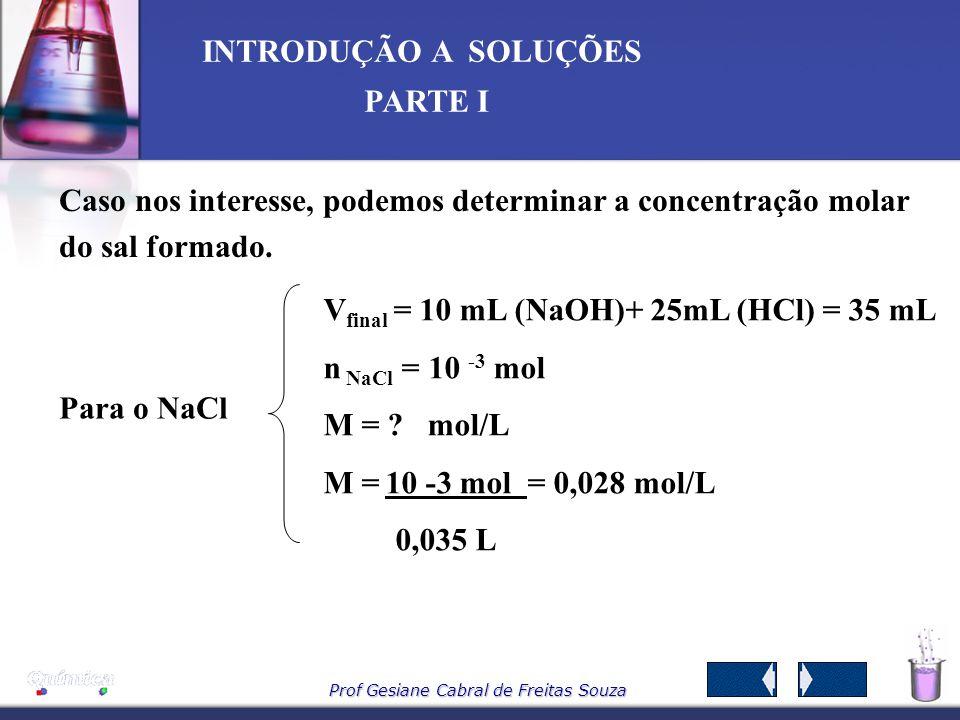 Caso nos interesse, podemos determinar a concentração molar do sal formado.