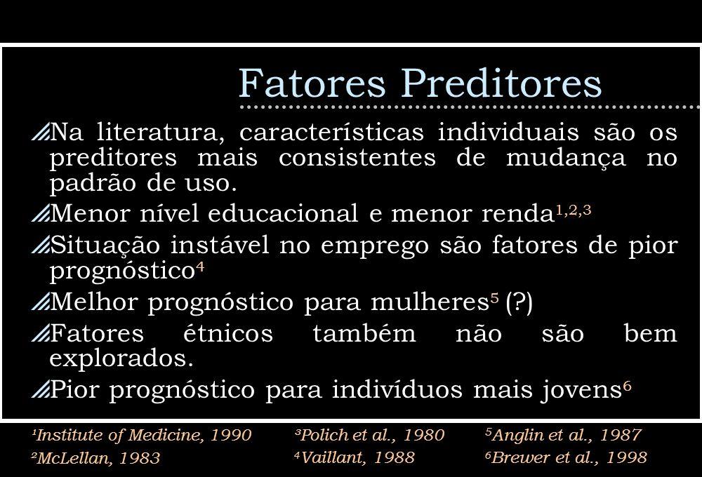 Fatores PreditoresNa literatura, características individuais são os preditores mais consistentes de mudança no padrão de uso.