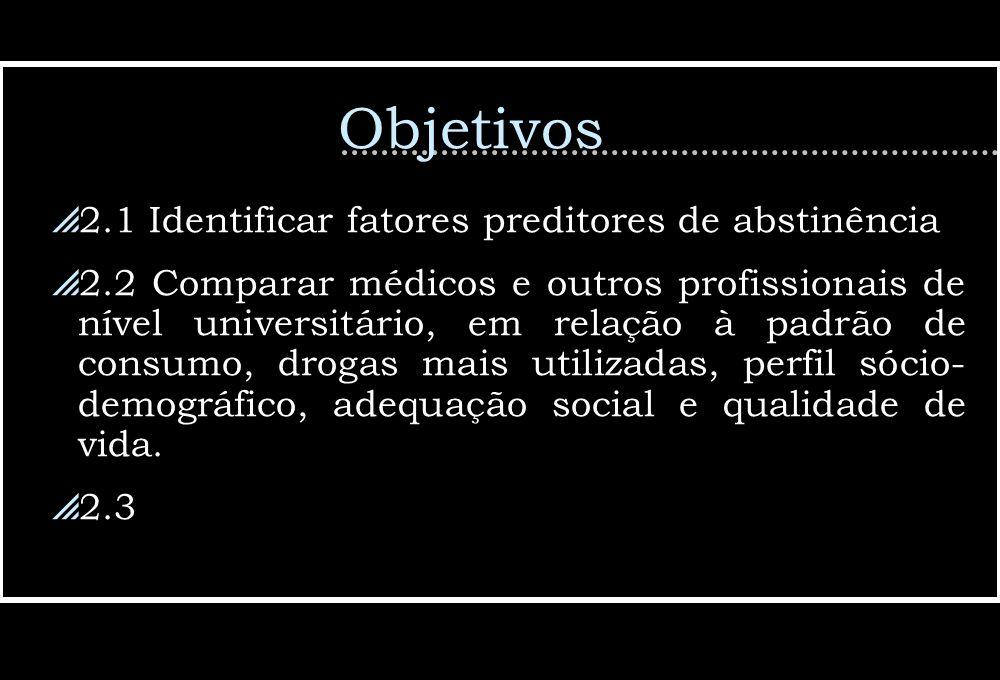 Objetivos 2.1 Identificar fatores preditores de abstinência